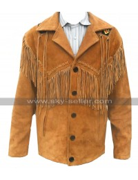 Mens Western Cowboy Coat Fringed Brown Suede Leather Jacket Blazer