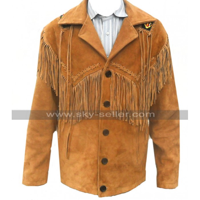 Mens Western Cowboy Coat Fringed Brown Suede Leather Jacket Blazer
