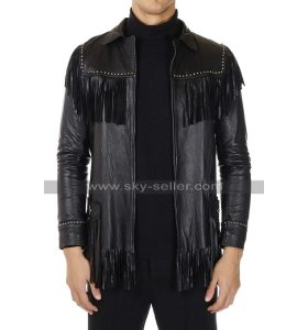 Mens Western Cowboy Fringe Style Slimfit Black Leather Coat