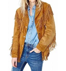 Women Tan Western Fringes Jacket