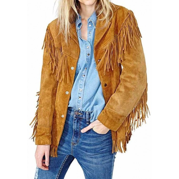 Women Tan Western Fringes Jacket