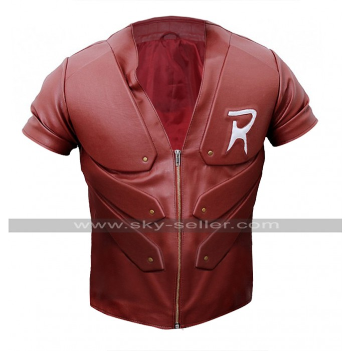 Red Robin Batman Arkham City Tim Drake Costume Red Leather Jacket