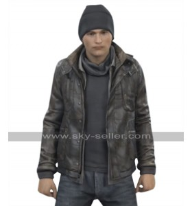 Detroit Become Human Android RK800 Connor Brown Leather Hoodie Jacket