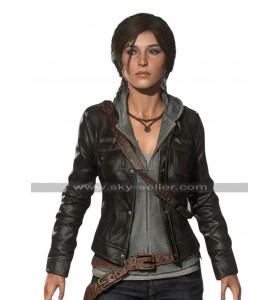 Rise of The Tomb Raider Lara Croft Black Leather Jacket