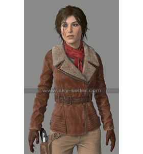 Rise of The Tomb Raider Lara Croft Aviator Brown Leather Jacket