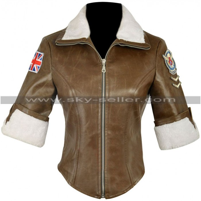 Overwatch Tracer Brown Fur Leather Jacket