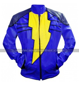 Shazam Captain Marvel Costume Blue Biker Leather Jacket