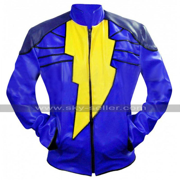 Shazam Captain Marvel Costume Blue Biker Leather Jacket