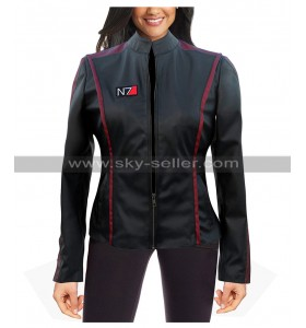 Womens Mass Effect N7 Gaming Costume Black Leather Jacket