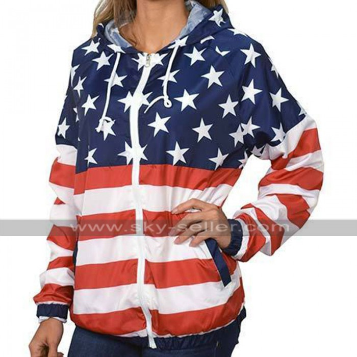 Womens Independence Day American Flag Patriotic Hoodie Bomber Jacket