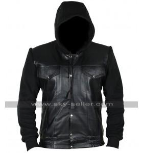Method Man Keanu Cheddar Black Leather Hoodie Jacket