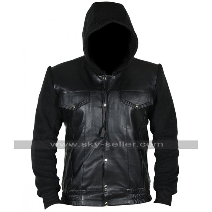 Method Man Keanu Cheddar Black Leather Hoodie Jacket