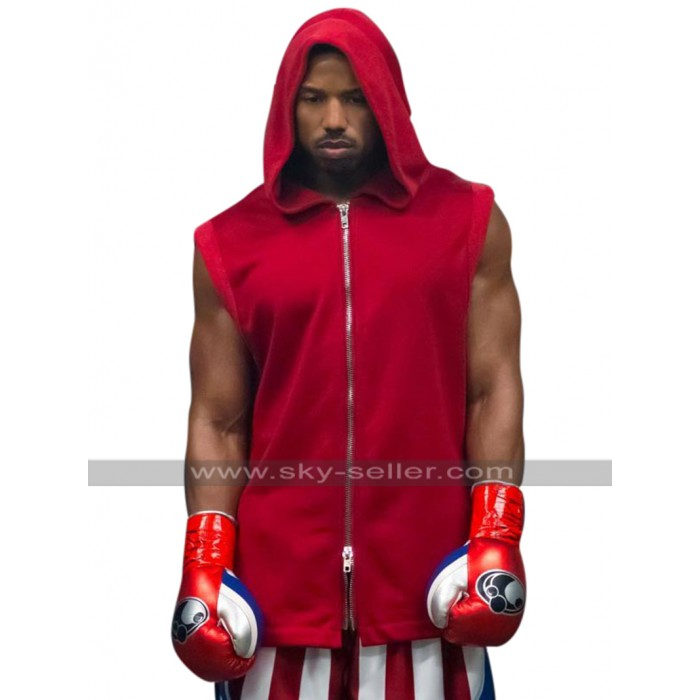 Adonis Johnson Creed II Michael B. Jordan Hooded Red Cotton Vest