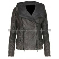Emily Blunt Arthur Newman Mike Hooded Leather Jacket