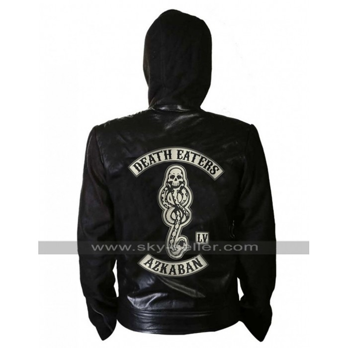 Harry Potter Death Eaters Of Azkaban Hooded Black Leather Jacket