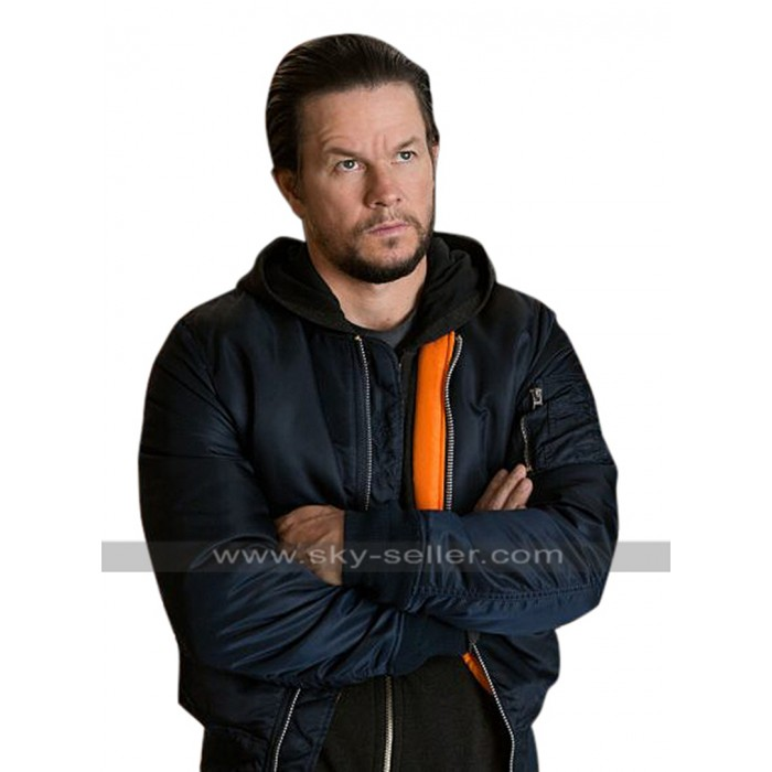 Mark Wahlberg Daddys Home Dusty Mayron Hoodie Bomber Satin Jacket