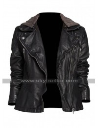 Alex Parrish Quantico Priyanka Chopra Hooded Black Leather Jacket