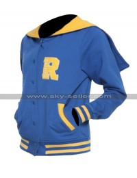 Womens Riverdale R Logo Cotton Hoodie Cheer Girls Blue Bomber Varsity Jacket