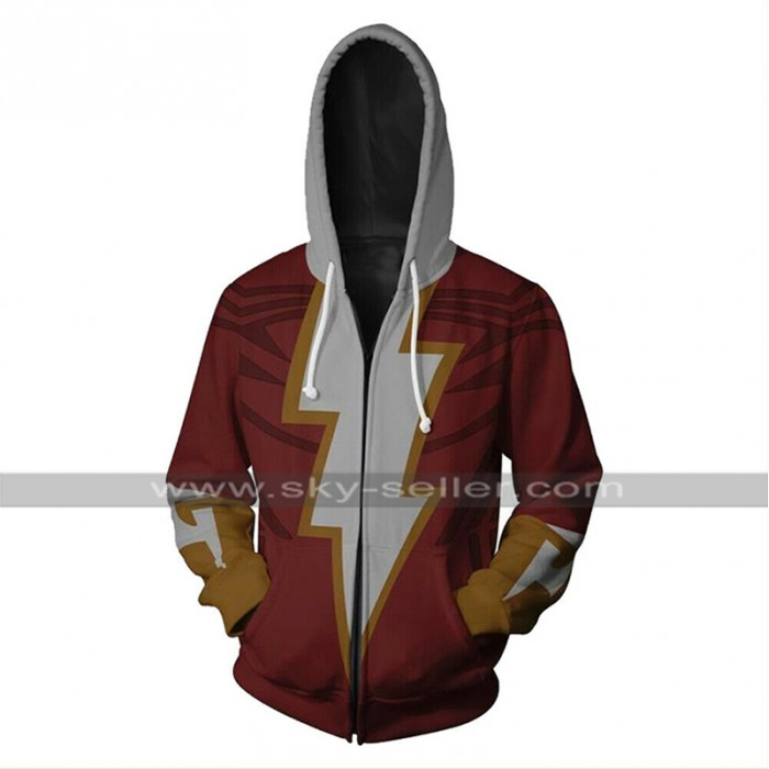 Shazam Zachary Levi Captain Marvel Costume Red Cotton Hooded Jacket