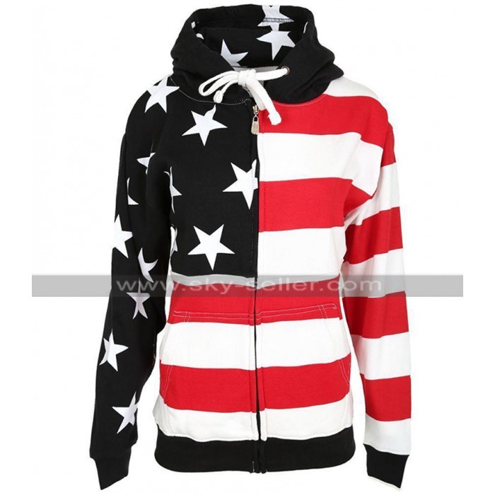 Womens American Flag Hooded Jacket Independence Day Special Sweatshirt