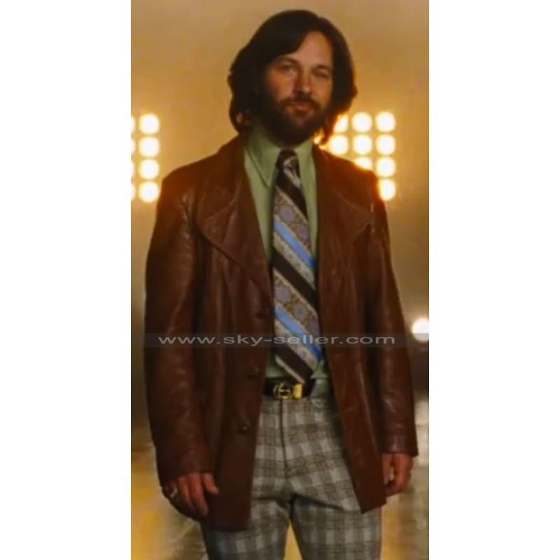 63238359bbc Brian Fantana Anchorman 2 Paul Rudd Brown Leather Coat