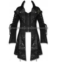 Slim Fit Gothic Poison Trench Black Leather Coat