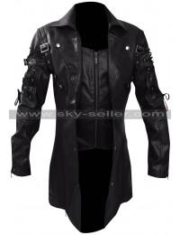 Men's Gothic Steampunk Black / Maroon Matrix Leather Coat