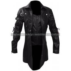 Men's Gothic Steampunk Black Matrix Leather Coat