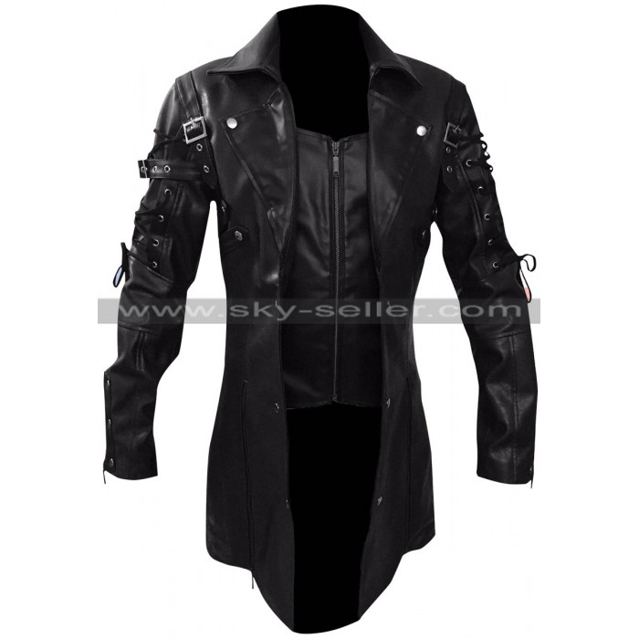 Men's Gothic Steampunk Black / Maroon Matrix Leather Coat