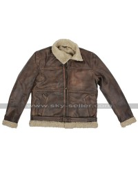 Brad Pitt Fur Shearling Brown Leather Jacket