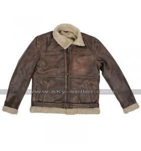 Brad Pitt Fur Shearling Brown Leather Jacket