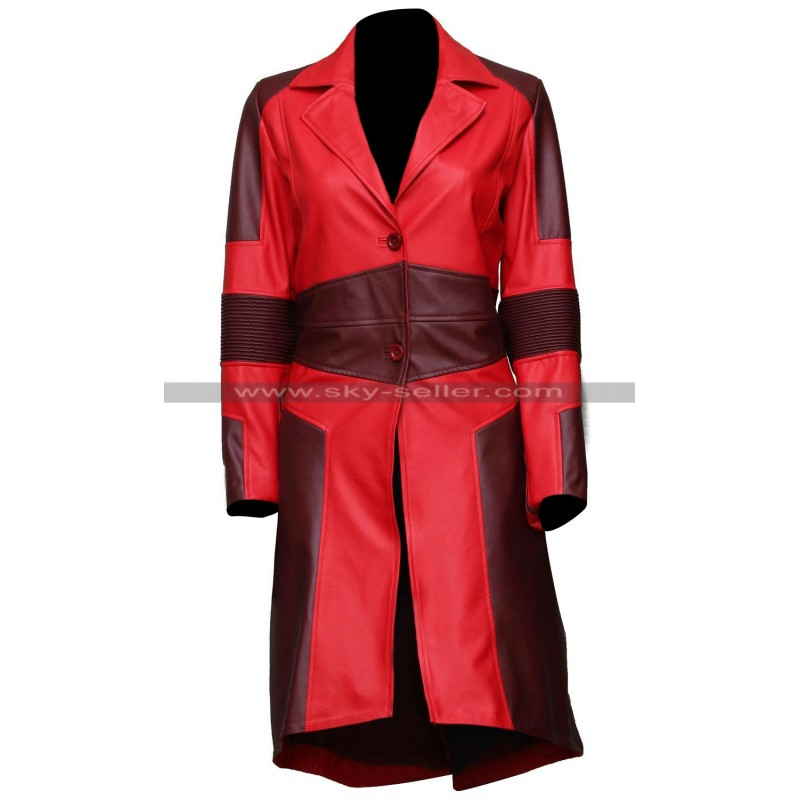America Civil War Scarlet Witch Leather Coat