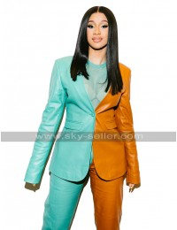 Womens Cardi B Jacket Vogue Fashion Magazine Green Orange Leather Suit Coat Pants