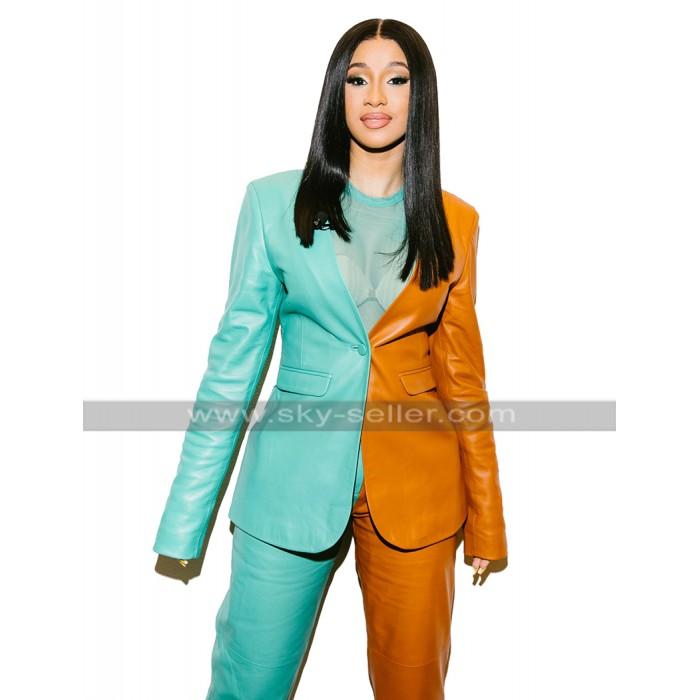 Womens Cardi B Jacket Vogue Fashion Magazine Green Orange Leather Suit Coat Pants