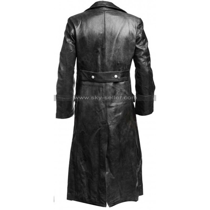 106dd967e German Classic Officer Black Leather Trench Coat