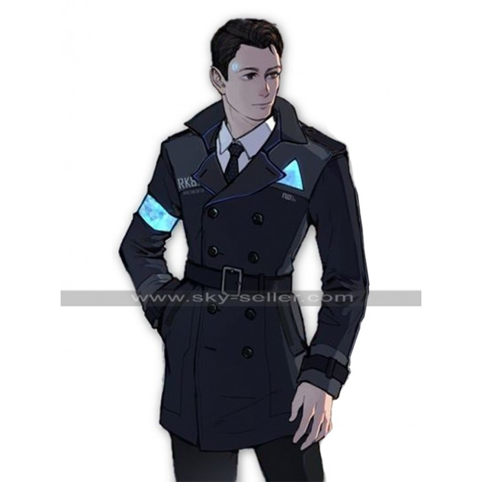 Detroit Become Human Connor Android RK800 Costume Leather Coat