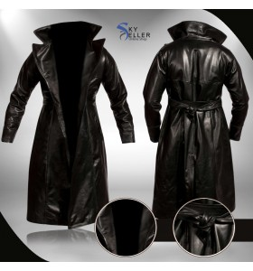Brandon Lee The Crow Eric Draven Black Leather Trench Coat