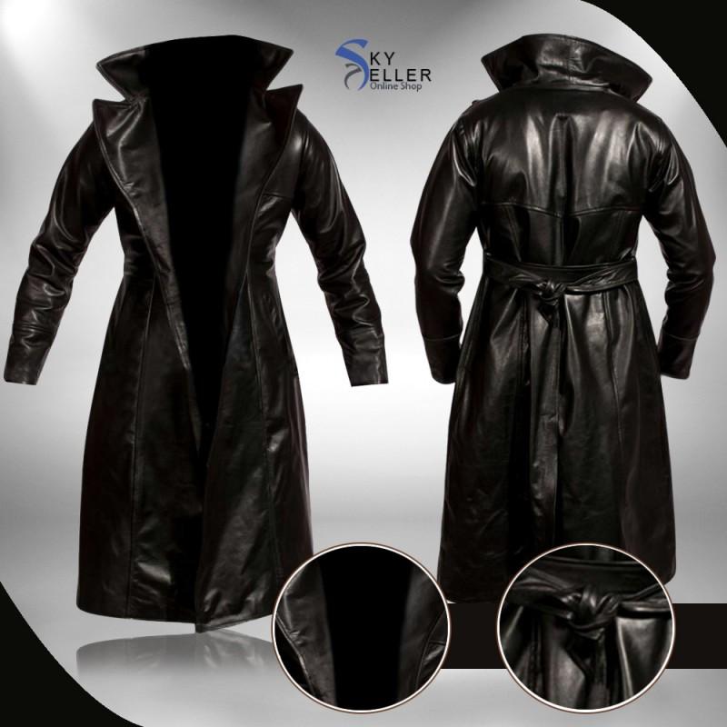 Brandon Lee The Crow Eric Draven Black Leather Trench Coat