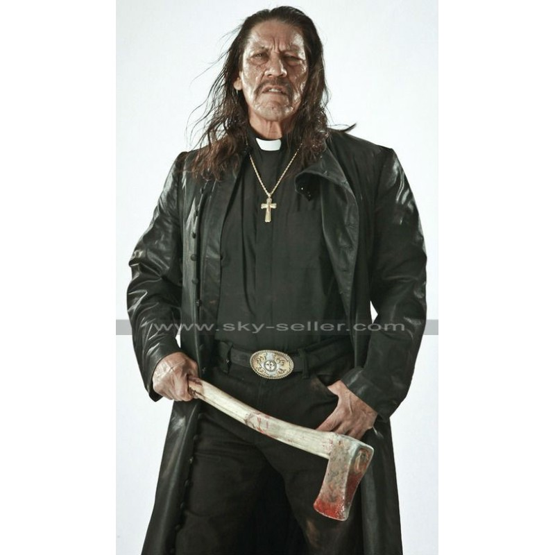 Trejo Zombie Hunter Long Black Leather Coat