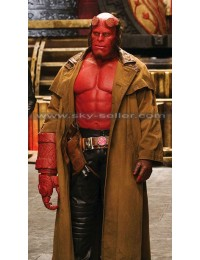 Demon Hellboy Ron Perlman Leather Jacket Trench Coat