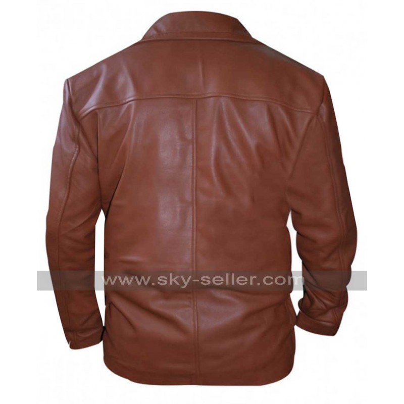 3911ea6aaa0 Johnny Depp Donnie Brasco Brown Leather Blazer
