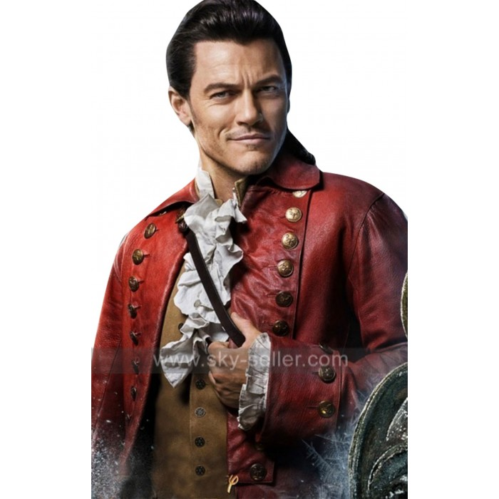 Gaston (Luke Evans) Beauty And The Beast Red Leather Coat