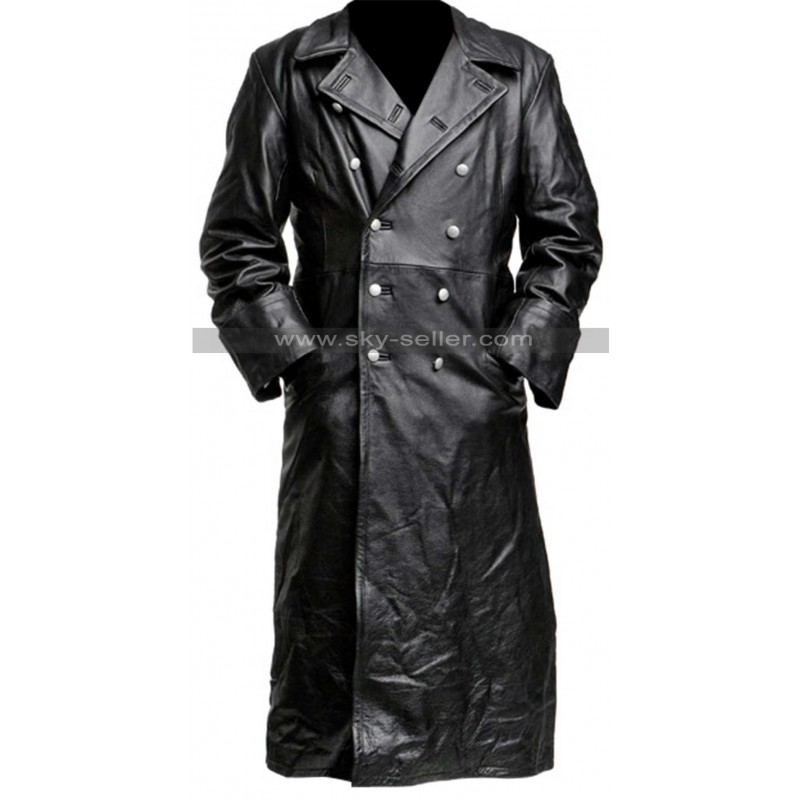 Classic Officer Black Leather Trench Coat