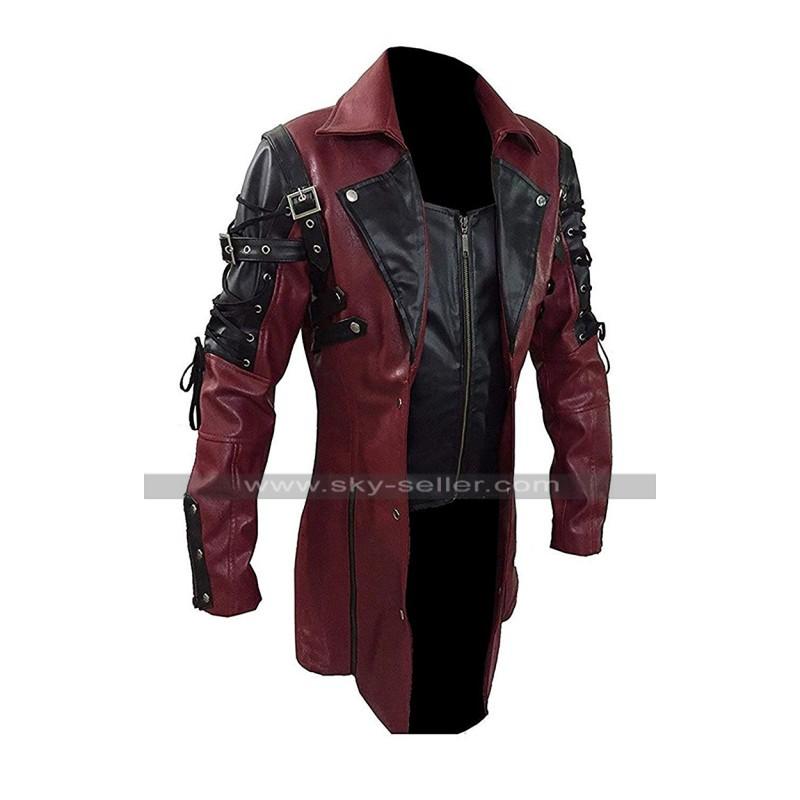e7b501f9f Men's Gothic Steampunk Black / Maroon Matrix Leather Coat