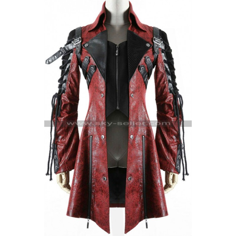 Poison Punk Rave Red Black Military Leather Coat