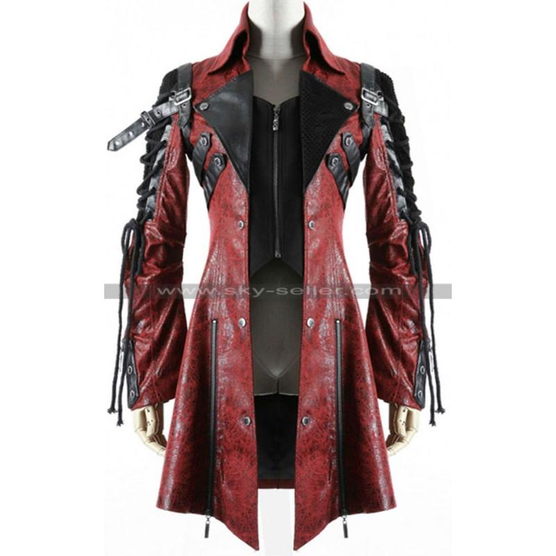 319e7e906 Gothic Poison Punk Rave Red Black Military Leather Coat