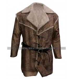 Anson Mount Hell On Wheels Cullen Bohannon Fur Collar Distressed Brown Leather Coat