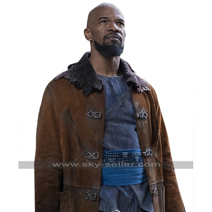 Robin Hood Jamie Foxx (Little John) Suede Leather Brown Trench Coat
