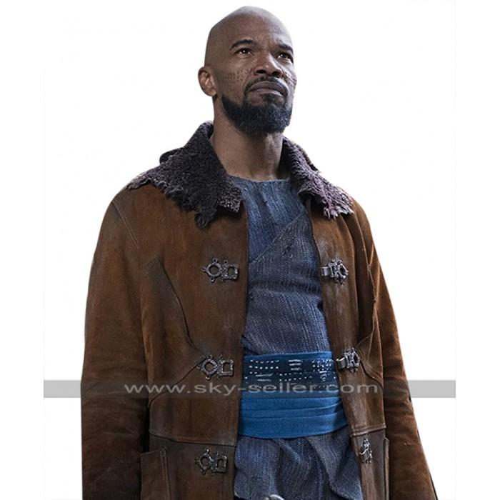 Robin Hood Jamie Foxx (Little John) Suede Leather Brown Trench Coat