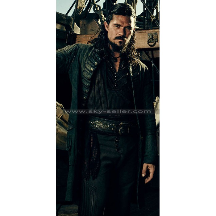 John Silver Black Sails S3 Luke Arnold Leather Coat